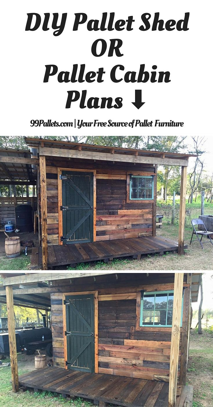 DIY Pallet Shed – Pallet Outdoor Cabin Plans - 99 Pallets #shedplans
