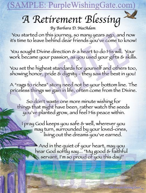 RETIREMENT Blessings Poems Prayer Gifts