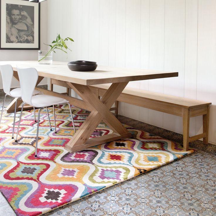 Tapis multicolore Love par Ligne Pure composé de viscose et de laine, robuste tapis motifs vagues, tapis haute gamme  #tapis #multicolore #graphique #déco