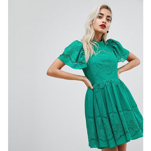 ASOS PETITE Lace Puff Sleeve Mini Dress (€73) ❤ liked on Polyvore featuring dresses, green, petite, short dresses, lace dress, green dress, petite dresses and green lace cocktail dress