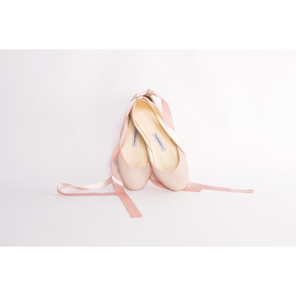 Nude Blush Ballet Flats with Satin Ribbons ($98) ❤ liked on Polyvore featuring shoes and flats