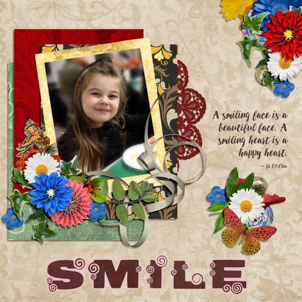 "Smile. Created using ""Maria of Spain Bundle"" by ADB Designs #theStudio #digitalscrapbooking"