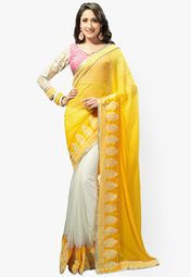 Admyrin White Embroidered Saree Online Shopping Store