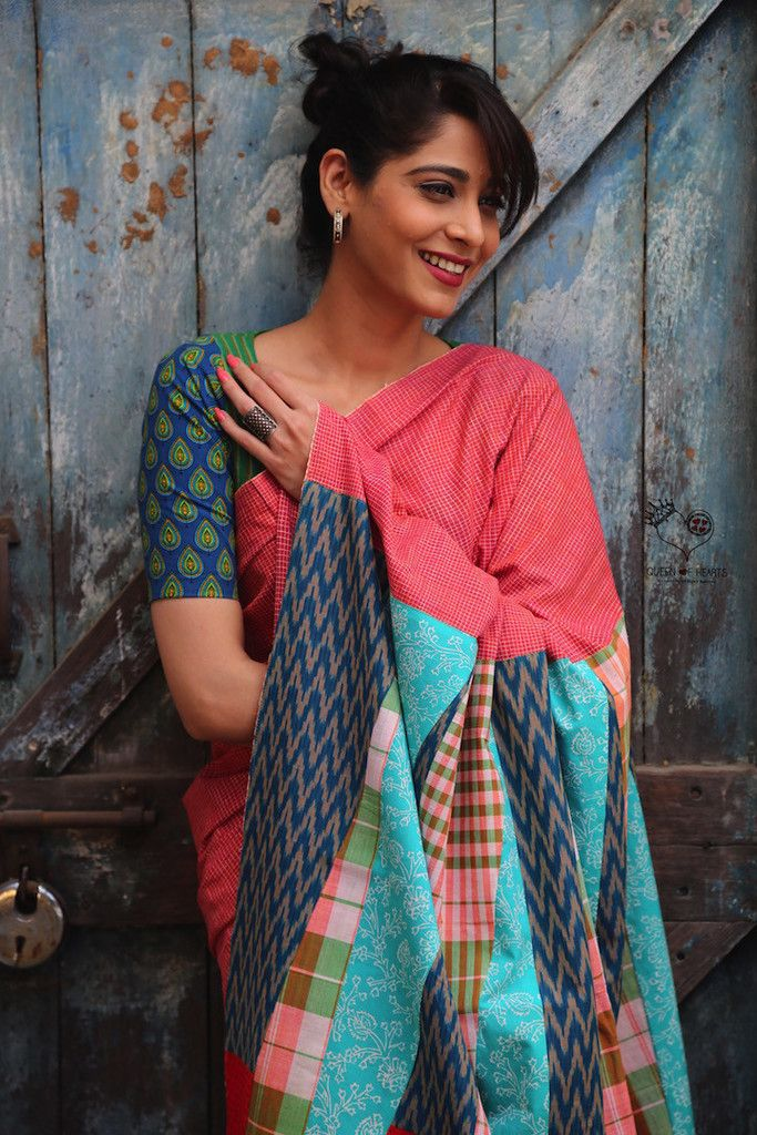 This saree has cloth from 5 Indian states. The body of the saree is Kerala Khadi and the pallu has pieces from Tamil Nadu, Andhra Pradesh, West Bengal and Rajasthan. Comes with a Gamcha blouse piece, also from West Bengal. DRY CLEAN ONLY.