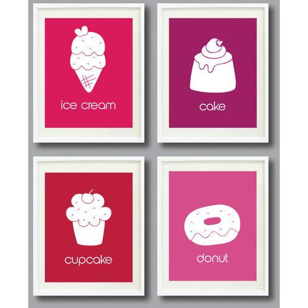 Dessert Art Print Set of Four 5x7-Ice Cream, Cake, Cupcake, Donut -... by None, via Polyvore