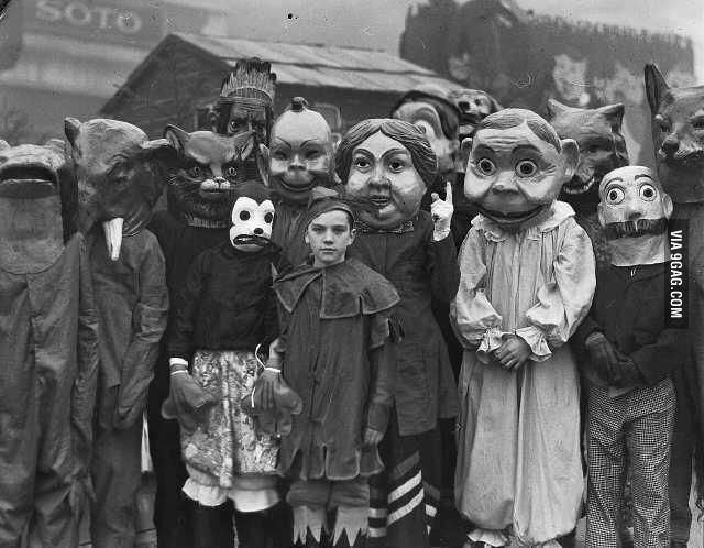 Halloween in 1930. Oh my gosh. Why is there not a scary movie about these masks yet?!