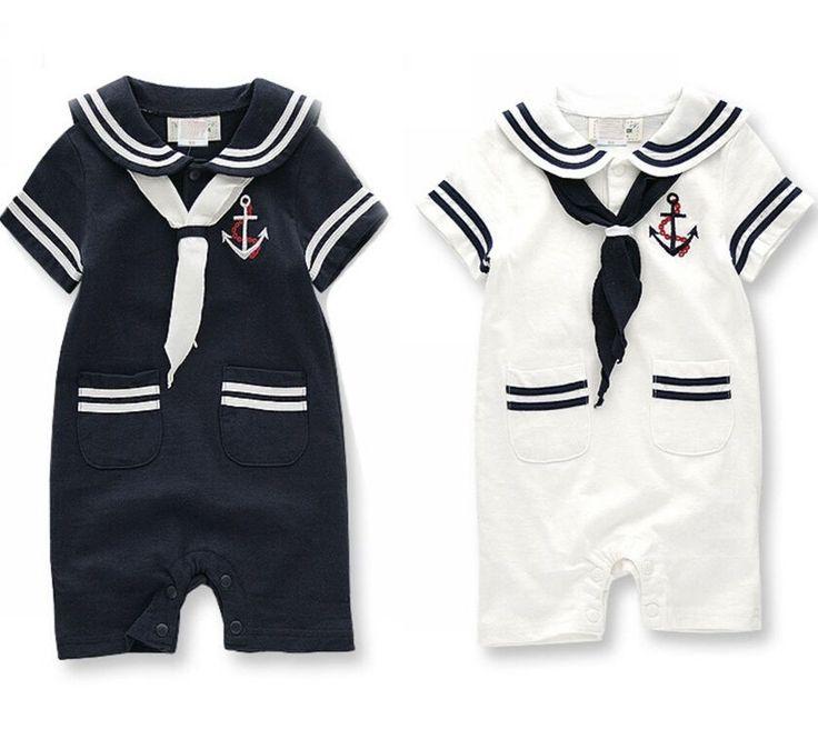 Baby Kids Toddler Boys Navy Sailor Marine Grow Onesie Bodysuit Romper One-Piece