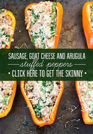 Sausage, Goat Cheese & Arugula Stuffed Peppers