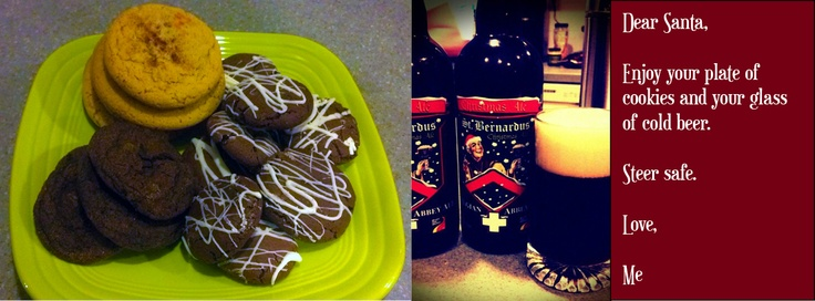 Christmas Cookies and St. Bernardus Christmas Ale:  Dear Santa, Enjoy the Cookies with a Cold Glass of Beer Love, Me