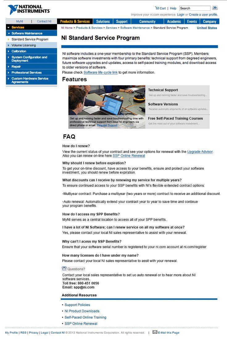 Propuesta para cambiar el diseño de la página de renovación de servicio de software de National Instruments. La página actual está ubicada aquí http://www.ni.com/services/software_benefits.htm