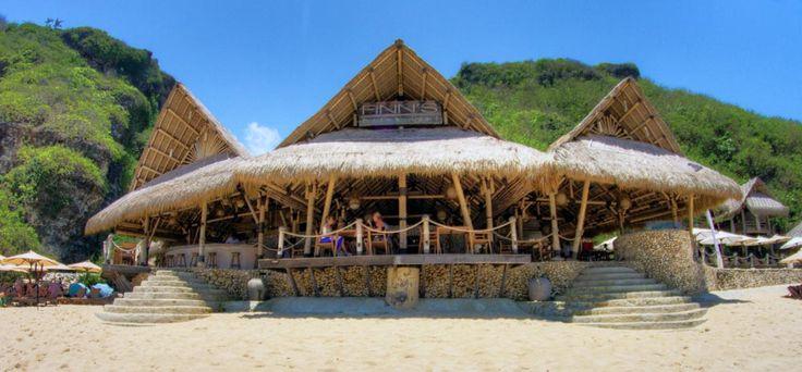 The open air bamboo structure pavilion provides a casual yet classy setting for the beach restaurant. #finnsbeachclub #semarauluwatu #bali