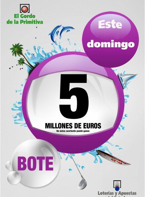 Gordo Primitiva, Bote, 5 Millones €, Domingo 23/06/2013