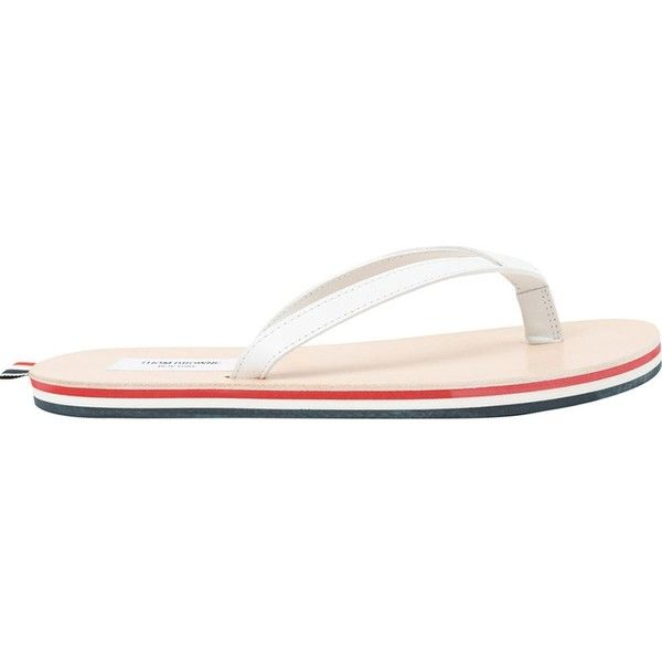 Thom Browne Striped Sole Flip Flops ($440) ❤ liked on Polyvore featuring men's fashion, men's shoes, men's sandals, men's flip flops, white, mens leather flip flops, mens white shoes, mens white flip flops, mens white leather shoes and mens white sandals