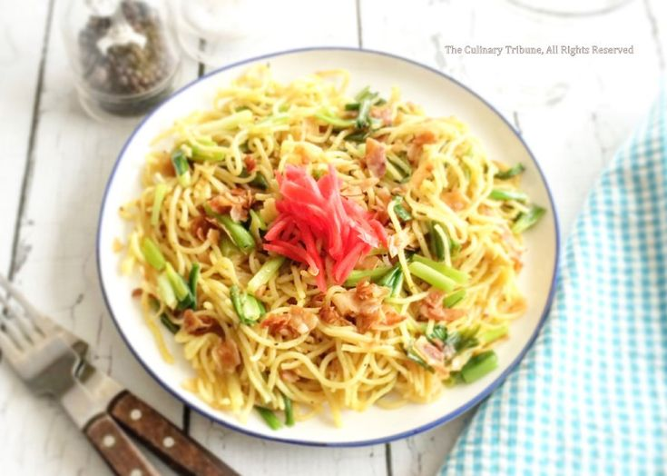 Curried Yakisoba with Scallion and Coconut Bacon