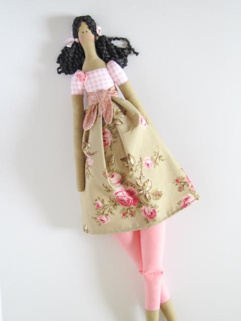 Pretty fabric doll in lovely rose dress, rag doll, brunette, stuffed doll,child friendly cloth doll Tilda style- gift idea for girls and mom. $38.00, via Etsy.