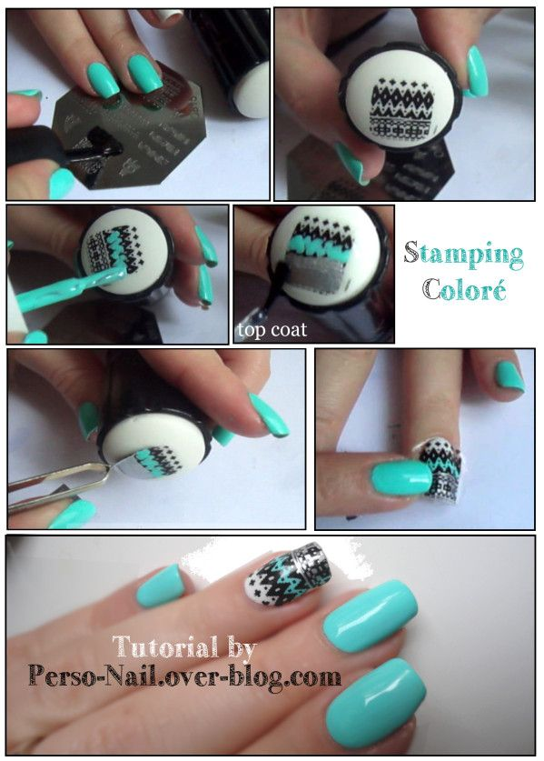 An example of How to stamp colour in nail art - This works very well. Just put a coat or two of clear and let it dry before attempting to peel it off. They last a long time too because they are quite a few coats thick #tutorial...x