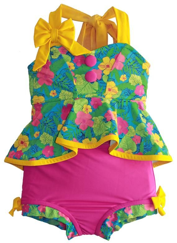 Retro Hi-Lo Tankini & High Waisted Trunks in Hula: 2019 Collection (Size 12/18 months – 12)