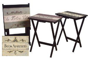 Amazon.com: Cape Craftsman TV Tray Set with Stand, Cucina, Set of 4: Kitchen & Dining
