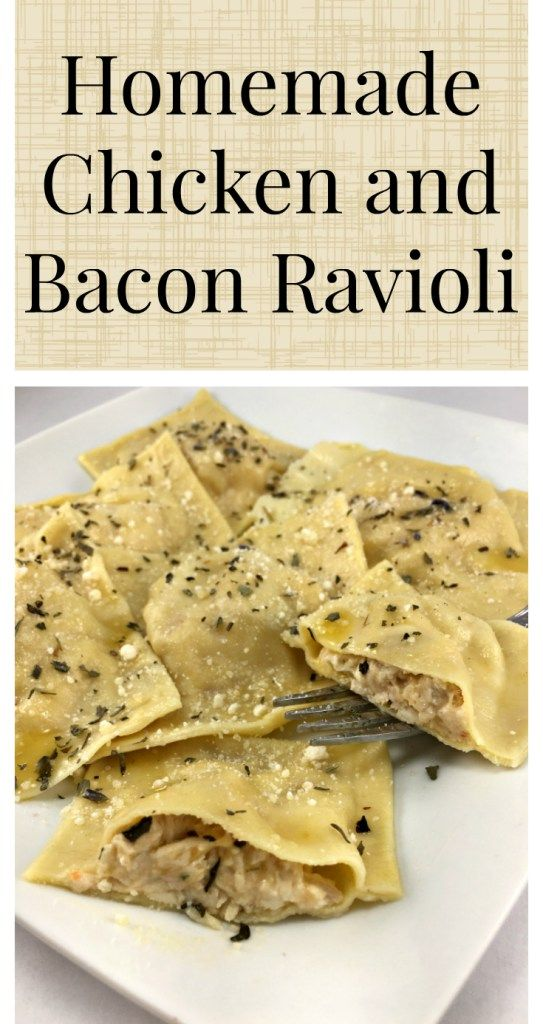 Homemade ravioli with a creamy chicken and bacon filling