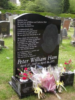 Grave Marker- Pete Ham, rocker (Badfinger), commits suicide by hanging himself at 27.He is buried in the Morriston Cemetery, Morriston, Swansea, Wales. http://www.thefuneralsource.org/deathiversary/april/24.html