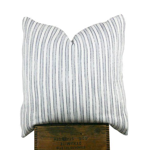 Navy Cotton Stripe Beachy Vibe Pillows Cotton Throw