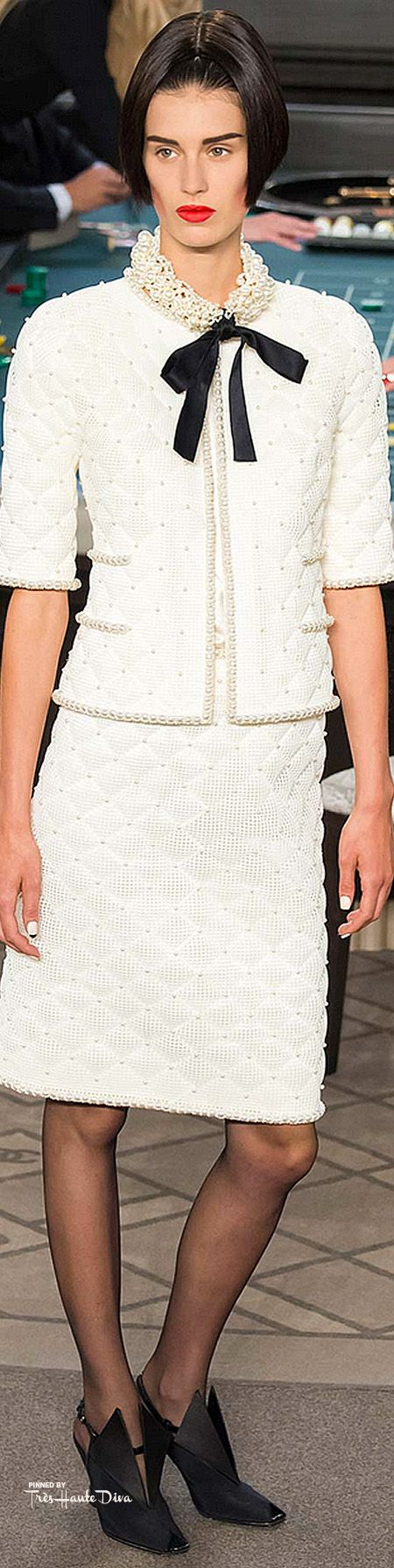 Chanel ~ Fall Ivory Short Sleeve Knit Suit 2015