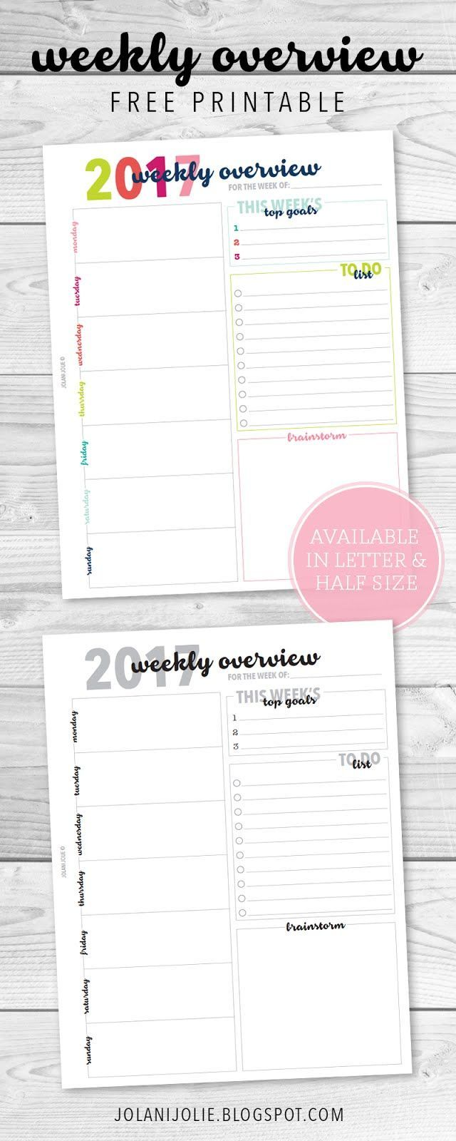 Free Weekly Overview Printable