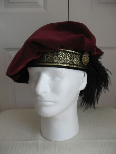 NEW BURGUNDY RENAISSANCE MEDIEVAL TUDOR FLOPPY MUFFIN HAT CAP COSTUME SIZE XL
