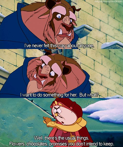 Dude, Cogsworth had the best jokes that totally went over my head as a kid.
