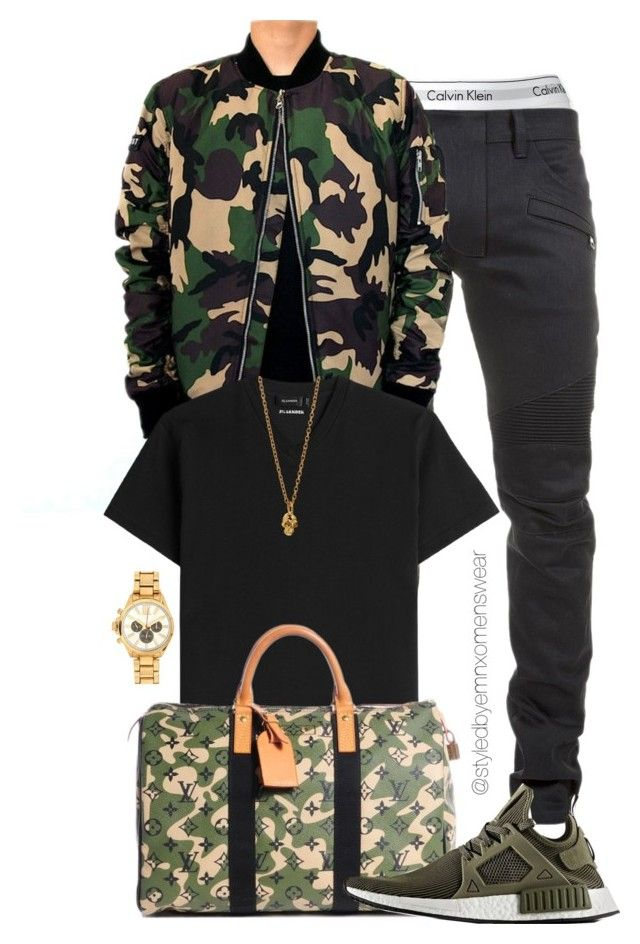 """Camo Camp"" by efiaeemnxo ❤ liked on Polyvore featuring Calvin Klein, Balmain, Jil Sander, Louis Vuitton, adidas, Loren Stewart, River Island, men's fashion, menswear and mens"