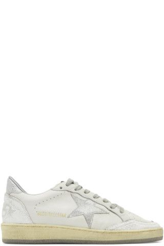 Buy Golden Goose White   Silver Ball Star Sneakers on SSENSE.com and get  free shipping   returns in Canada. Low-top buffed leather sneakers c…  336ad5d06c66