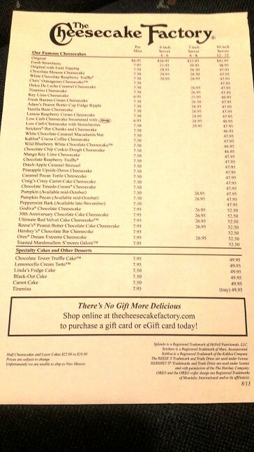 The cheesecake factory menu with all of cheesecake flavors and cake prices. #thecheesecakefactory