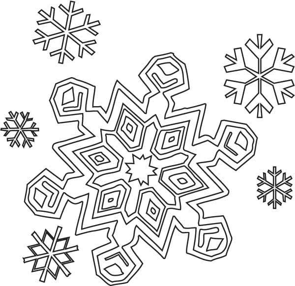 Christmas Winter Season Christmas Snowflakes Coloring Page