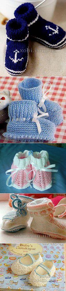 Детские носки и пинетки вязаные крючком и спицами. » Страница 4