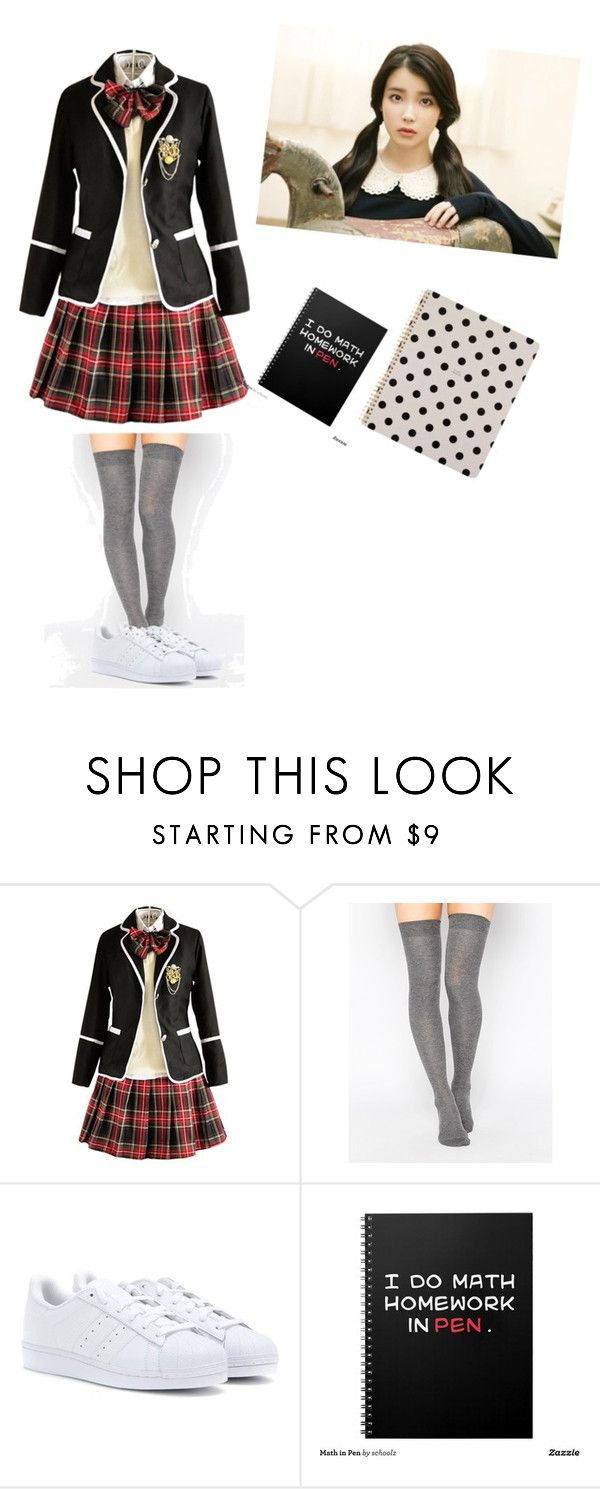 """korean private school uniform"" by austinmahonelover103 ❤ liked on Polyvore featuring ASOS, adidas and Kate Spade"