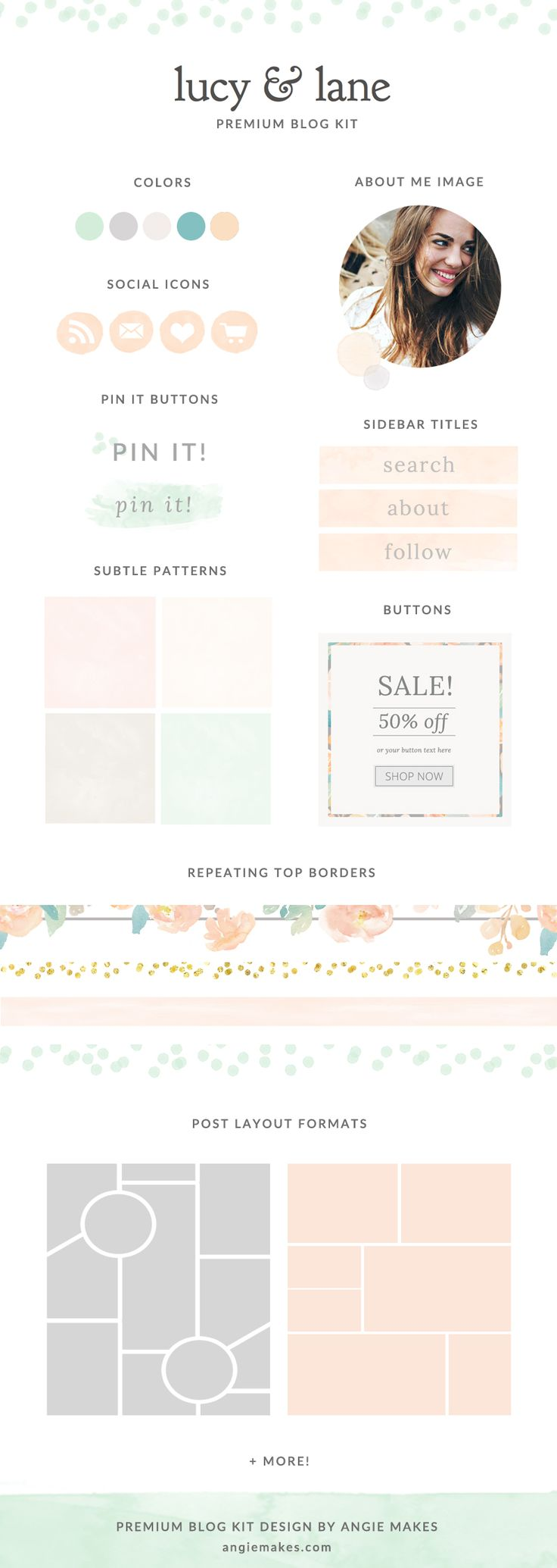 Cute Watercolor Blog Graphics Kit With Background Images, Logo Elements, Icons, Buttons, and more! - angiemakes.com