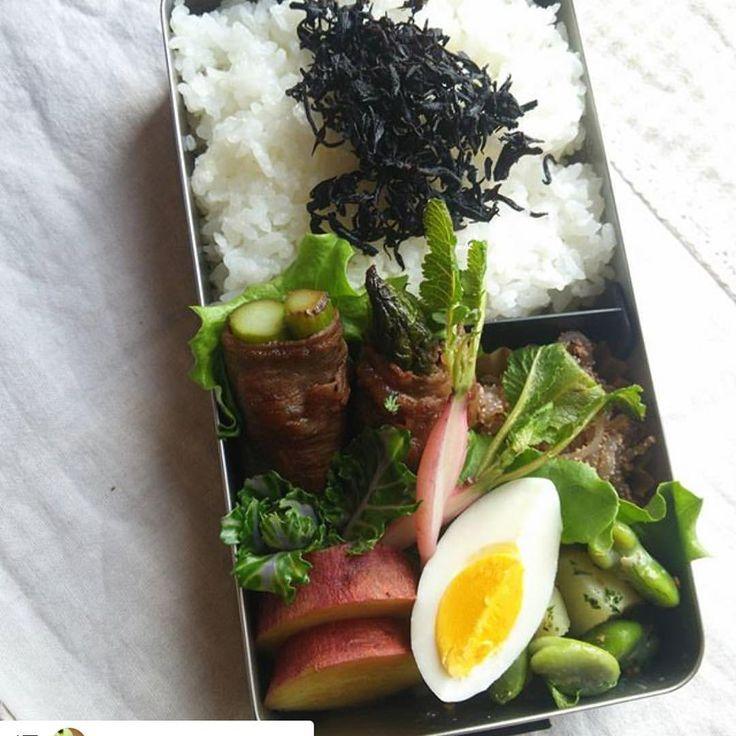 @yasakatsu_project  Repost @happy.sun.smile #follow #instagood THE高校生のお弁当箱ですなっ #お弁当#野菜ソムリエ#やさ活 #牛アスパラ#糸コンたらこ和え#ゆでたまご…」