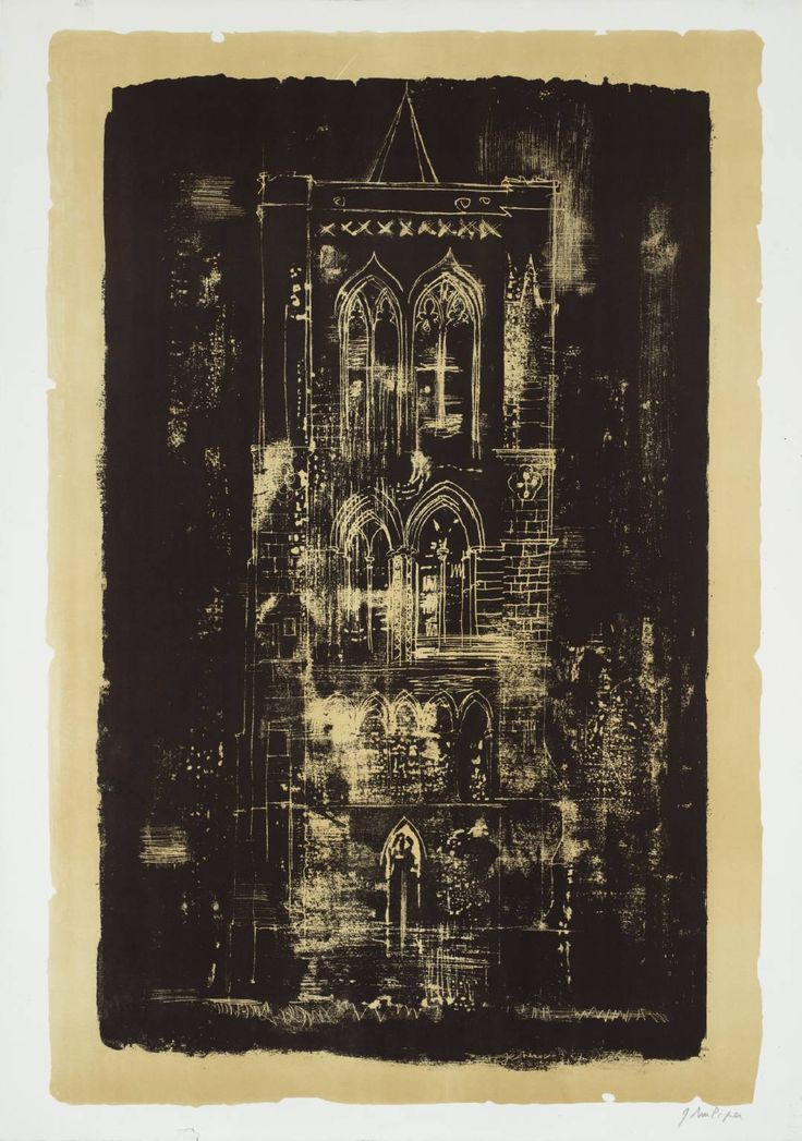 John Piper (1903‑1992) 18. Gedney, Lincolnshire: a Tower in the Fens From A Retrospect of Churches 1964 Lithograph on paper. y God, these lithographs are wonderful -- I don't think I had previously registered that a whole series of them existed... What I wouldn't give etc etc...