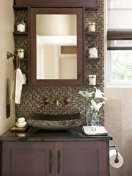 Happy-Face Bathroom: Mirror, Half Bath, Small Shelves, Small Bathrooms, Sinks, Medicine Cabinets, Bathroom Ideas, Bathroom Shelves, Powder Rooms