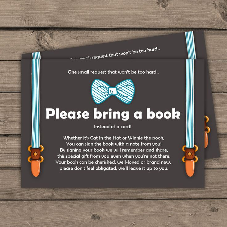 Baby shower Bring a book card Little