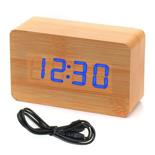 SDFC Modern Wooden Wood USB/AAA Digital LED Alarm Clock Calendar Thermometer