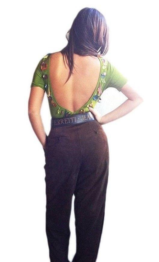 Backless  Sexy Bodysuit  Vtg 80s Blouse Party Dress Sleek Dressy Gemstones Green