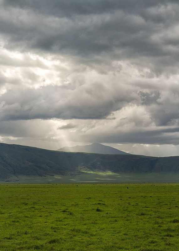 Rays of light breaking through clouds in the Ngorongoro crater, Tanzania.  | by terjek