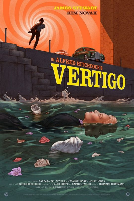 Alfred Hitchcock's 'Vertigo', 1958 - John 'Scottie' Ferguson, (Jimmy Stewart) is a likable retired San Francisco detective, who suffers from acrophobia. An old acquaintance, Gavin Elster, asks Scottie to follow his wife Madeleine (Kim Novak) claiming that she's in some sort of danger. Elster knows that Scottie has severe vertigo, but still thinks he's right for the job.