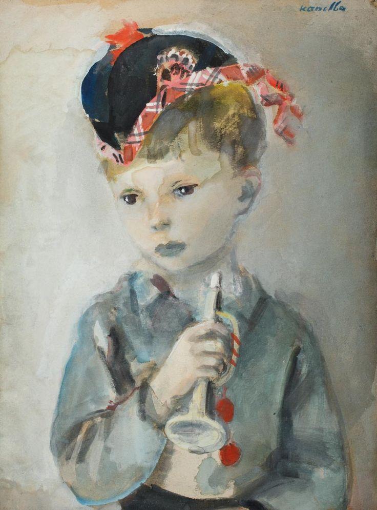RAJMUND KANELBA (1897 - 1960)  CHŁOPCZYK Z TRĄBKĄ   akwarela, papier, / 52x 42 cm