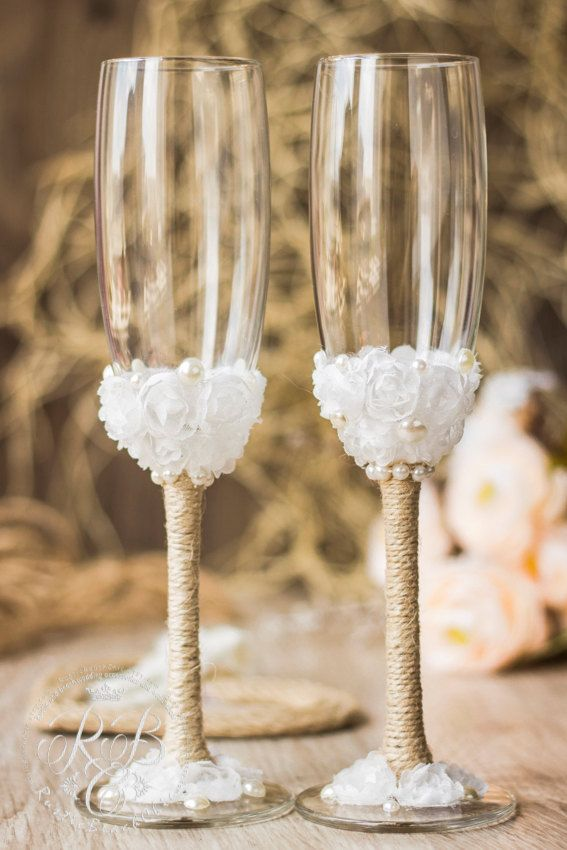 Rustic chic wedding glasses, barn wedding, country rustic wedding, bride and groom wedding flutes, rope and lace, white & pearl, 2pcs