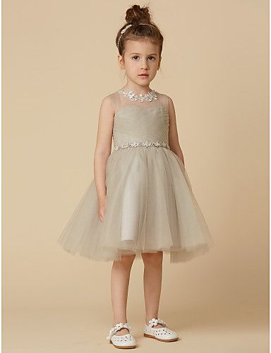 feb145c3ff8 Princess Knee Length Flower Girl Dress - Satin Sleeveless Scoop Neck with  Appliques   Sash   Ribbon   Criss Cross by LAN TING BRIDE®