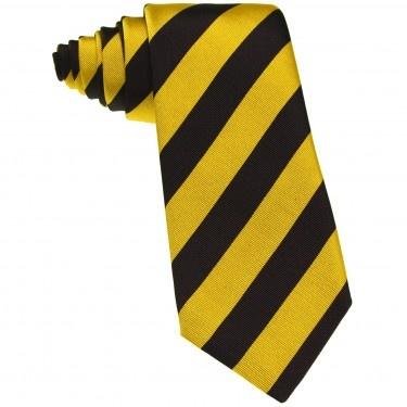 Cravata de Matase de Como, cu dungi Galbene si Cafenii