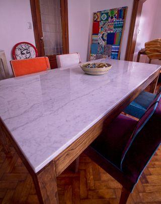 Juego Comedor p/6 Personas. Mesa mármol Carrara + 6 sillas - Muebla
