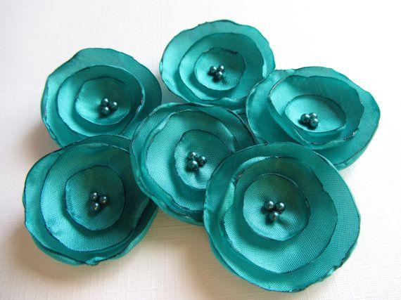 Fabric Flowers 15 Wedding Turquoise By MurisAndAJ